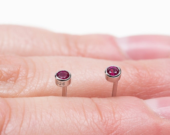 Ruby Earring Stud, Earring Second Hole, Tiny Stud, 2mm Sterlin Silver Stud, Mini Stud Earring, Single Stud, Small Stud Earring, Cartilage