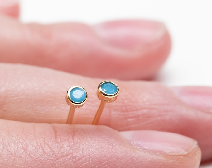 Turquoise Stud Earring, 2mm Stud Earring, Tiny Stud Earring, Blue Gold Earring, 2mm gold stud, Mini Stud Earring, Second Hole Earring