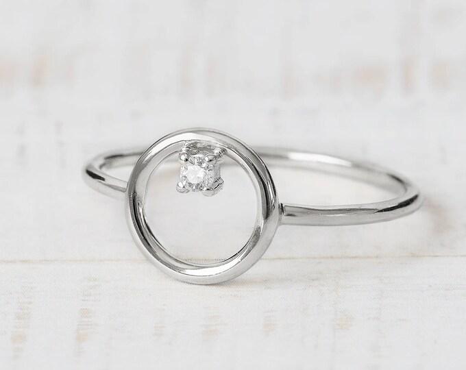 Open Circle Ring, Silver Geometric Ring, Full Moon Ring, Diamond Ring, Sterling Silver Circle Ring, Minimalist Ring Women, Orbit Ring
