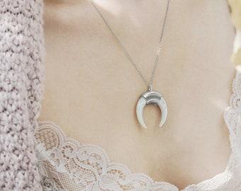 Moon Statement Necklace, Upside Down Crescent Moon Necklace, Tusk Necklace, White Horn Necklace, Large Horn Pendant, Half Moon Necklace