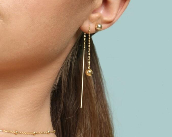 Front Back Drop Earring, Long Bar Ear Threader, Gold Fill Threader, Threader Earring Sterling Silver, Circle Threader Earring,Dainty Earring