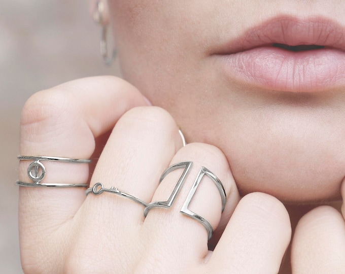 Cage Ring, Silver Cage Ring, Open Bar Ring, Double Ring, Parallel Ring, Statement Ring Sterling Silver, Minimalist Ring, Adjust Silver Ring