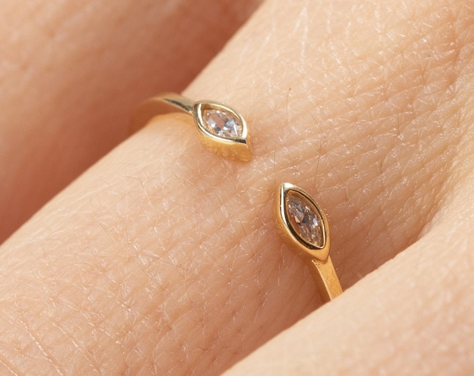 Zircon Ring, Adjust Gold Ring, Dainty Cuff Ring, Marquise Cut Ring, Minimalist Engagement Ring, Dainty Ring,Open Ring, Crystal Stack Cz Ring