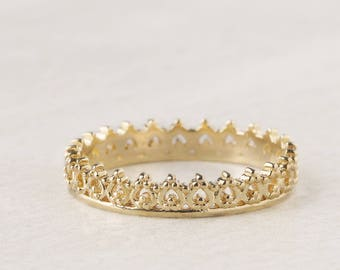 Gold Crown Ring, Princess Ring, Gold Plated King Ring, Lace Ring, Baroque Ring, Queen Ring, Royal Jewelry, Tiara Ring, Ornate Gold Ring