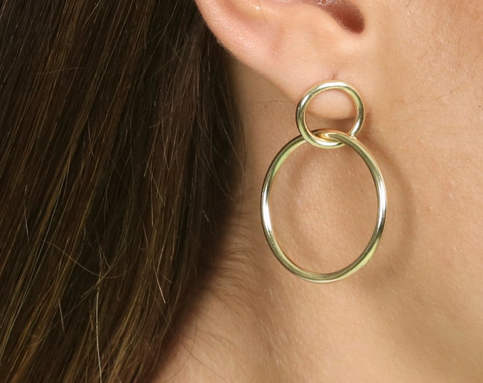Double Hoop Earring Gold, Large Hoop Earring Charm, Big Hoop Earring Women, Chunky Earring, Gold Hollow Hoop Earring, Statement Hoop Earring