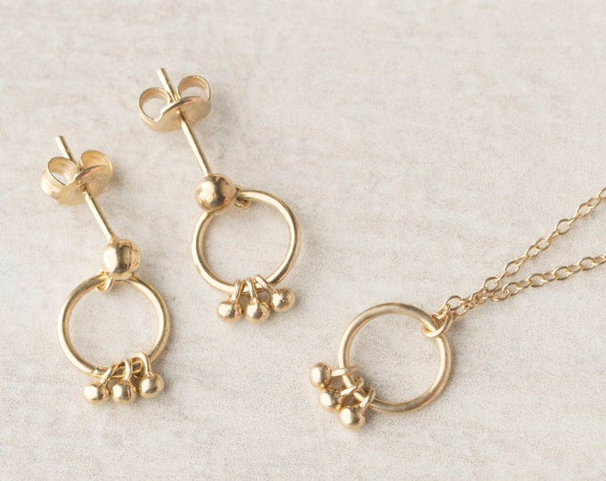 Tiny Charm Necklace, Small Drop Necklace, Open Necklace, Dainty Gold Necklace Women, Ring Charm Necklace,Small Ring Necklace,Simple Necklace