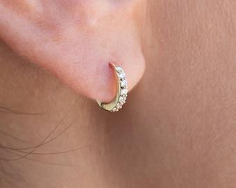 Gold Huggie Earring, Tiny Hoop Earring, Second Hole Hoop, Cz Hoop, Man Huggie Earring, Small Gold Hoop, Tiny Diamond Hoop, Cartilage Hoop