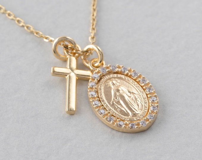 Virgin Mary Necklace Gold, Cross Mary Medal, Religious Medal, Medallion Necklace, Miraculous Necklace, Silver Cross Necklace, Virgin Jewelry
