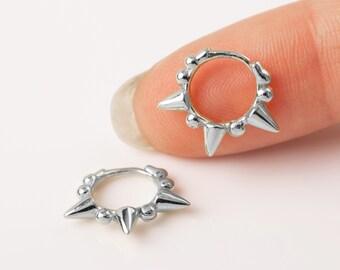 Huggie Hoop Earring Spike, Small Hoop Earring Sterling Silver, Orbit Piercing, Earring Second Hole, Septum Clicker,Dot Hoop Earring,Dainty