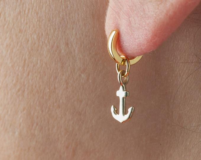Anchor earring gold, Nautical Earring, Sailor Jewelry, Men Earring, Dangle Hoop Earring, Marine Girlfriend Jewelry, Huggie Charm Earring,