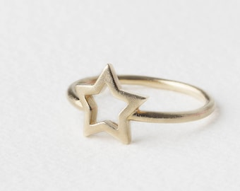 Gold Fill Star Ring, Christmas Ring Women, Open Star Ring, Star Band Ring, Sterling Silver Star Ring, Celestial Ring, Gold Plated Ring Women