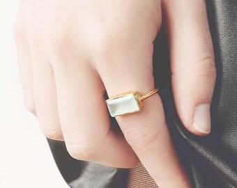 Aquamarine Gold Ring, Raw Stone Ring, Statement Stone Ring, Aqua Chalcedony Ring, Mineral Jewelry,Rectangle Gemstone Ring,Large Ring Women