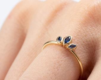 Tiara Crown Blue Sapphire Ring, Marquise Triple Stone Ring,  Sterling Siler Cz Ring,Princess Crystal Ring Women, Engagement Ring,Dainty Ring