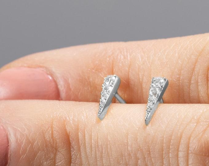 Triangle Stud Earring, Second Hole Earring, Sterling Silver Stud Earring, Small Diamond Earring, Dainty Post,Delicate Earring,Single Earring