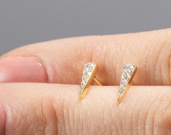 Triangle Stud Earring, Earring Second Hole, Tiny Stud Earring, Small Diamond Earring, Dainty Post, Delicate Earring, Minimalist Jewelry Gold