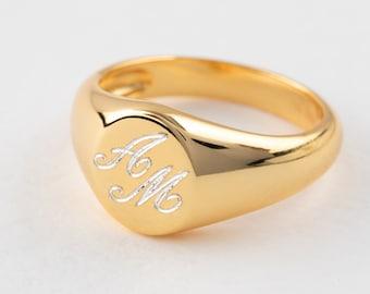 Engrave Man Signet Ring, Gold Signet Ring, Signet Ring Women, Man Sterling Silver Ring, Initial Signet Ring, Chevalier Ring, 2 Initial Ring