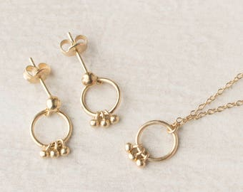 Minimalist Jewelry Set, Delicate Jewelry Set Gold, Dainty Jewelry Set, Earring Necklace Set Gold, Tiny Jewelry, Sterling Silver Jewelry Set