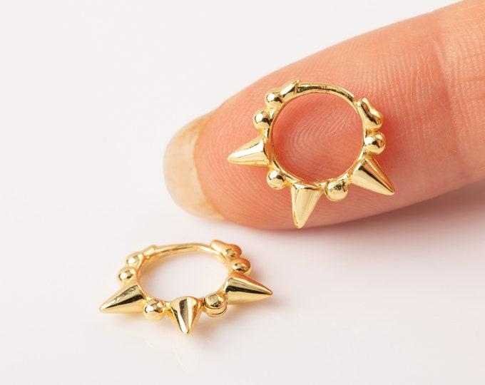 Spike Hoop Earring Gold, Huggie Hoop Earring, Sterling Silver Huggie Earring, Orbit Piercing, Dainty Hoop Earring, Earring Second Hole