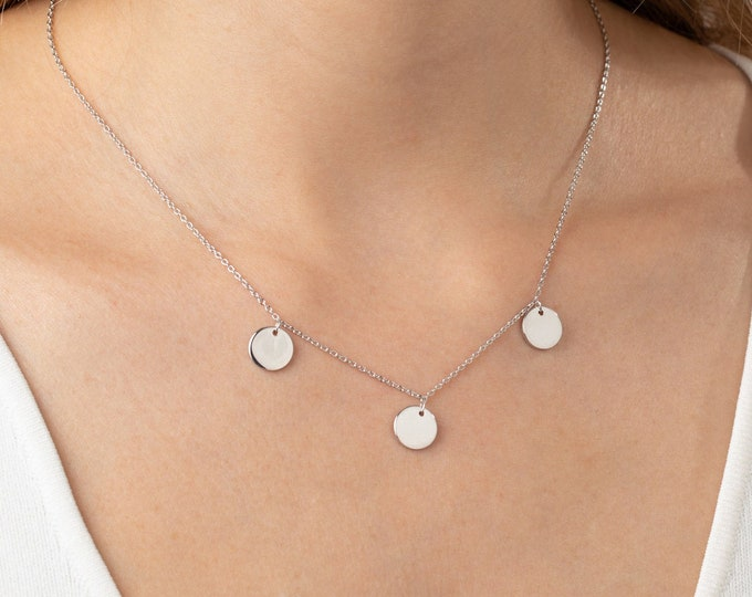 Sterling Silver Disc Necklace, Dainty Necklace, Small Disc Necklace, Minimalist Necklace, Round Necklace, Circle Necklace, Delicate Necklace