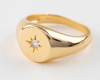 Starburst Ring, North Star Ring, Sterling Silver Signet Ring, Seal Ring, Dainty Gold Ring Women, Celestial Jewelry, Minimalist Ring, Cz Ring