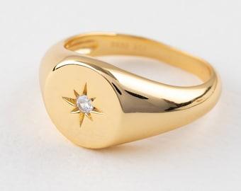 Starburst Ring, Dainty Signet Ring, North Star Ring, Compass Ring, Polaris Ring, Signet Ring Oval, Gold Signet Ring Women, Thick Ring
