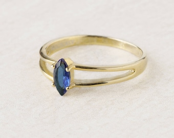 Marquise Ring Sapphire, Blue Sapphire Gold Ring, Sterling Silver Marquise Ring, Marquise Cut Ring, Crystal Ring Women,Double Ring,Thick Ring