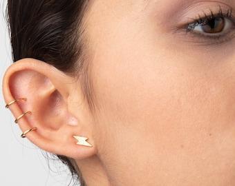 Lightning Earrings, Flash Earrings, Second Hole Earring, Sterling Silver Stud Earring, Cz Earrings, Dainty Earring, Lightning bolt Earrings