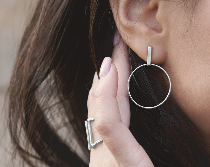 Long Hoop Earring, Long Bar Earring, Big Hoop Earring Women, Hoop With Dangle Earring, Stick Earring, Open Hoop Earring, Statement Jewelry