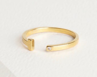 T Ring, T Bar Ring, Minimalist Engagement Ring, Small Diamond Ring Gold, Gold Plated Diamond Ring, Bezel Cz Ring, Dainty Cuff Ring,Solitaire