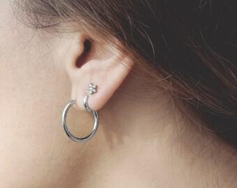Creole Silver,Semi Circle Earring, Half Hoop Earring, Sterling Silver Hoop Earring Medium, Open Hoop Earring, 20mm Hoop Earring, Dainty Hoop