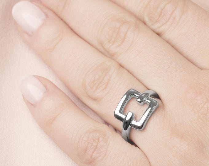 Statement Ring, Square Ring Women, Geometric Jewelry, Large Ring Gold, Sterling Silver Chunky Ring, Wide Ring Band, Thick Ring, Cube Ring