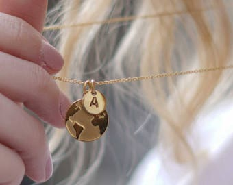 Earth Necklace, World Map Necklace, Globe Necklace Pendant, Tiny Initial Necklace Gold, Wanderlust Jewelry, Graduation Necklace 2018