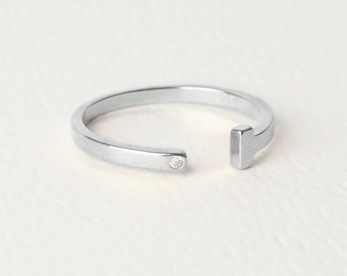 T Ring, T Bar Ring, Silver Ring Woman, Minimalist Engagement Ring,Sideways Cross Ring Sterling Silver,Sideways Open Ring,Small Diamond Ring