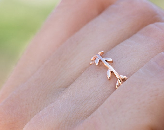 Leaf Rose Gold Ring, Sterling Silver Rose Gold Ring, Branch Ring Rose Gold, Olive Branch Jewelry, Pink Ring Women, Dainty Simple Ring