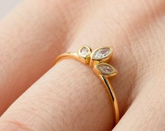 Crown Ring, Sterling Silver Marquise Ring, Ring Women, Triple Stone Ring, Cz Ring, Princess Ring, Tiara Ring, Crystal Ring, Gold Fill Ring