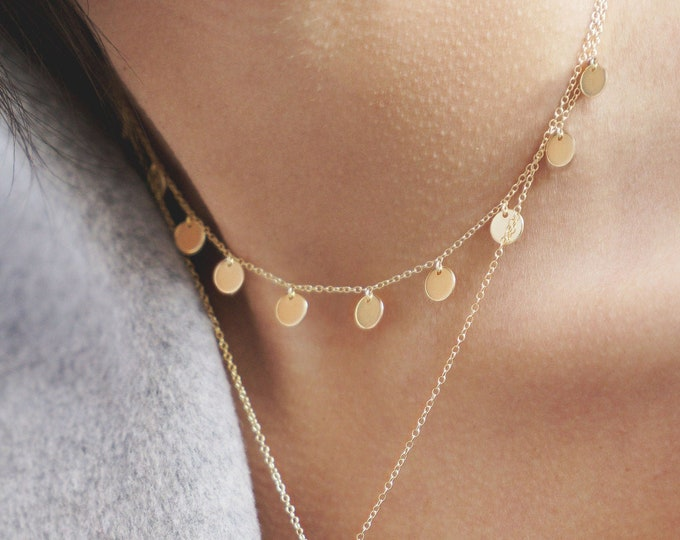 Coin Choker Necklace, Gold Disc Choker, Sterling Silver Chock, Dainty necklace, Minimalist Necklace Gold, Tiny Coin Necklace, Delicate Charm