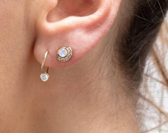 Small Hoop Earring, Moonstone Hoop earring, Huggie Earring, Gold Fill Open Earring, Tiny Hoop, Dainty Minimalist Jewelry, Stone Earring