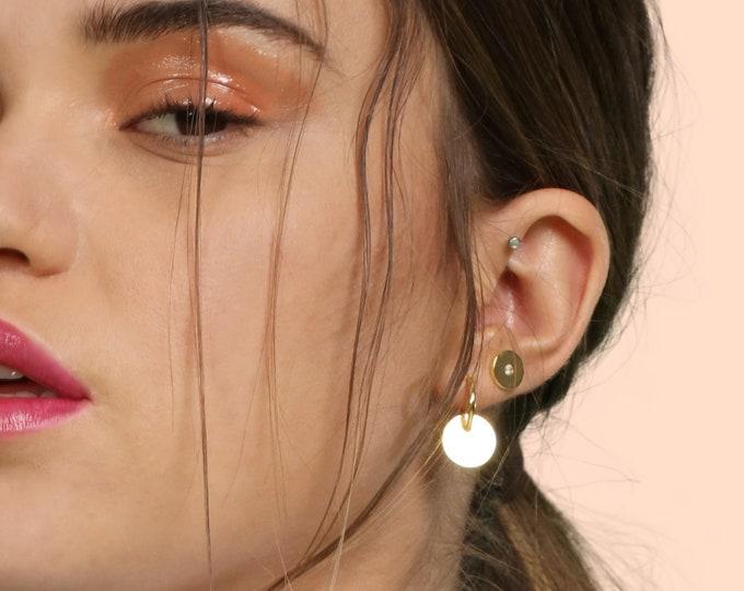 Dangle Hoop Earring, Sterling Silver Disc Earring, Double Hoop Earring, Flat Hoop Gold, Big Thin Hoop, Modern Hoop Earring, Simple Jewelry
