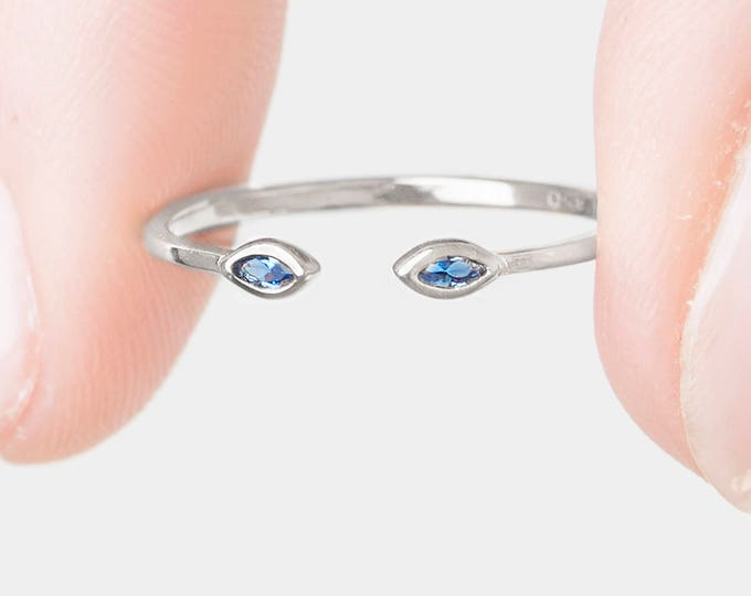Small Sapphire Ring, Open Adjust Ring, Sterling Silver Marquise Ring, Tiny Sapphire Ring, Dainty Stack Ring, Open Cuff Ring, Crystal ring