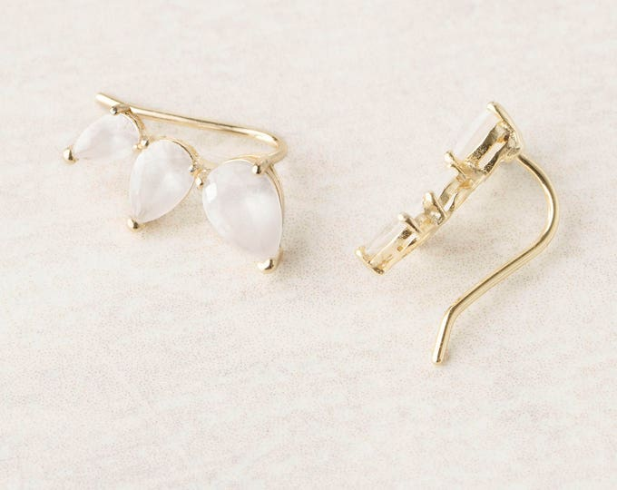 Small Ear Climber, Ear Pin, Moonstone Drop Earring, Ear Crawler Earring, Ear Cuff No Piercing, Pearl Ear Jacket, June Birthstone Earring