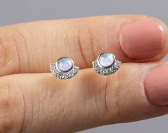 Fan Shape Earrings, Sterling Silver Stud Earrings Women, Opal Stud Earring, Small Earring, Earring Second Hole, Single Minimalist Earring