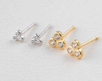 Sparkly Stud Earring, Cz Earring Set, 3mm Stud Earring, 5mm Earring, Tiny Crystal Stud Earring, Gold Stud Earring, Threesome, Triple Earring