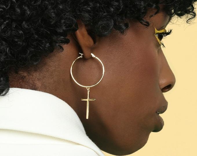 Large Cross Earring, Cross Hoop Earring, Cross Earring Dangle, Long Cross Earring, Big Cross Earring, Statement Jewelry, Chunky Earring