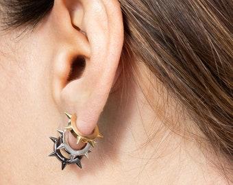 Black Spike Earrings, Spike Hoop,Men Earring,Sterling Silver Huggie Earring, Small Hoop Earring, Earring Second Hole, Single  Hoop, Punk