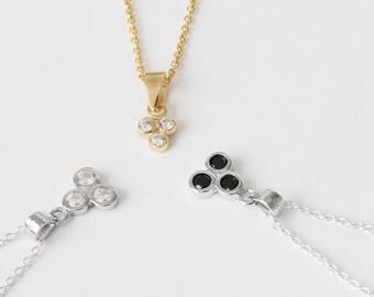 Threesome Jewelry, Black Diamond Necklace, Silver Black Necklace, 3 diamond necklace, Small Diamond Necklace, Tiny black diamond necklace