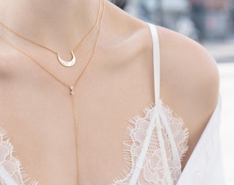 Upside Down Moon Necklace, Crescent Moon Necklace, Minimalist Jewelry, Horn Pendant, Dainty Gold Necklace, Half Moon Pendant, Delicate