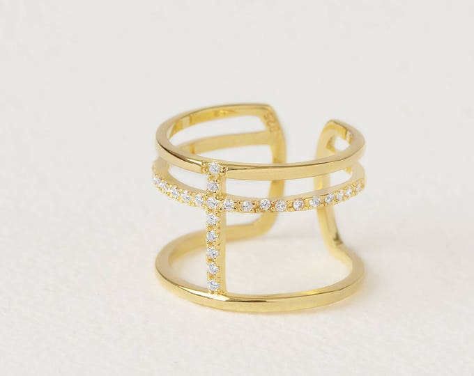 Statement Diamond Ring, Cage Ring, Cuff Ring Women, Bar Diamond Ring, Gold Double Ring, Parallel Ring, Adjust Band Ring, Coil Ring