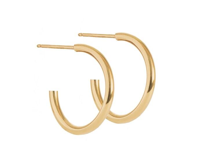 Creole Gold, Gold fill Hoop Earring, Dainty Hoop Earring, 10mm Hoop Earring, Half Hoop Earring, Hoop Stud Earring, Minimalist Hoop Earring