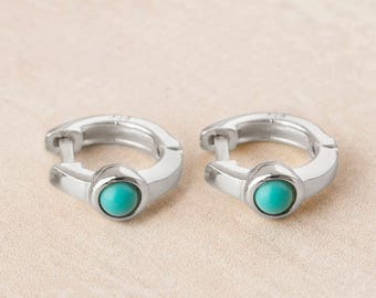 Huggie Earrings, Turquoise Hoop Earring, Tiny Hoop Earrings,Sterling Silver Huggie Earring,Small Hoops Earring and Ring Set,Boho Hoop,Creole