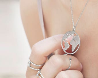 Globe Necklace Sterling Silver, Earth Necklace, World Map Necklace,Globetrotter Necklace,Dainty Pendant,Travel Jewelry,Wanderlust,Adventurer